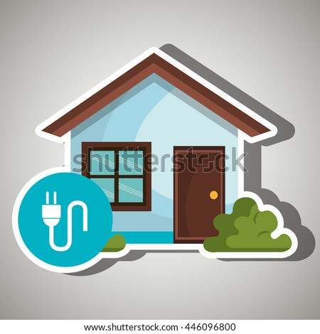 smart home with energy plug isolated icon design, vector illustration  graphic