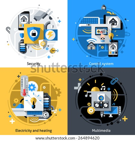 Smart house design concept set with security electricity heating and multimedia control system flat icons isolated vector illustration - stock vector