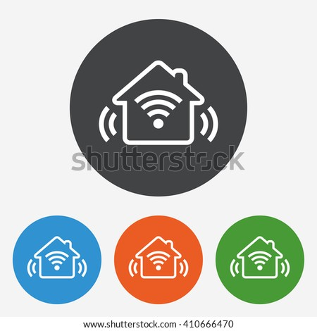 Smart house icon sign. Smart house icon flat design. Smart house icon for app. Smart house icon for logo. Smart house icon picture. Circle buttons with flat icon. Vector