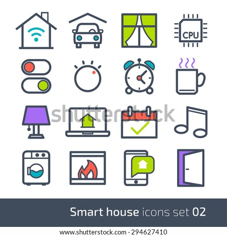 Smart house technology system icons with control of lighting, heating, ventilation and air conditioning, security and video surveillance // 02 - stock vector