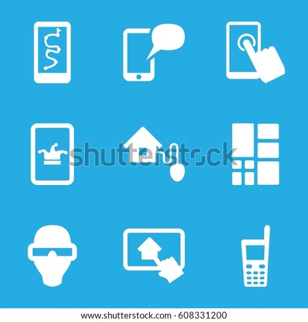 Smart icons set. set of 9 smart filled icons such as Poker on phone, old phone, grid, home on tablet
