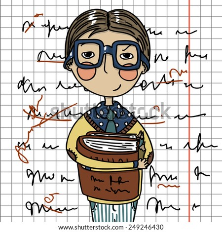 Smart Is The New Sexy - Cartoon Boy Wearing Glasses, Holding Books - stock vector