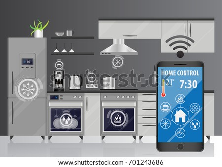 Smart Kitchen Remote Control Kitchen Appliances Stock Vector ...