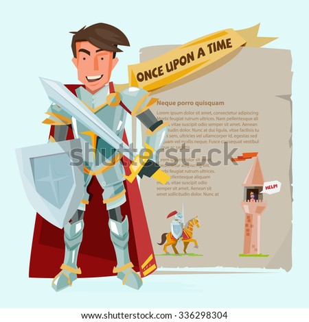 smart knight character design with battle shields and swordin. presenting onold paper - vector illustration - stock vector