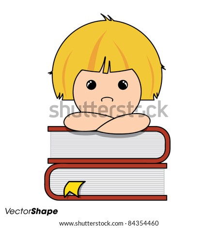 Smart little boy thinking on a pile of books, vector illustration - stock vector
