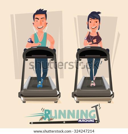 smart male and female doing exercises on treadmill. running machine - vector illustration - stock vector
