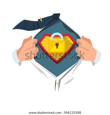 """smart man open shirt to show """" master key symbol"""" in hero style. security and unlock concept - vector illustration - stock vector"""