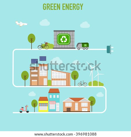 Smart  modern cities ecology design  concept infographics elements. City with green energy. Iluustration EPS10. - stock vector