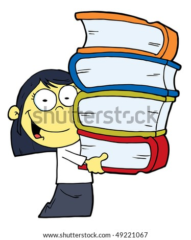 Smart Oriental School Girl Carrying A Stack Of Books