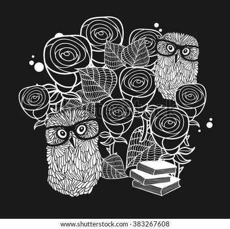 Smart owls in roses. Black and white vector illustration. Cool and creative print for the card cover, t-shirt. - stock vector