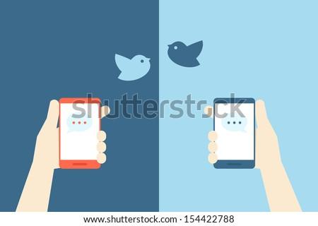 smart phone and birds design, vector - stock vector
