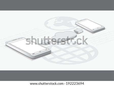 Smart phone and cloud computing concept - stock vector