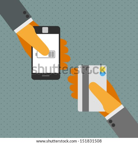 Smart phone and Credit card. - stock vector