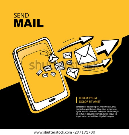 Smart phone and envelope - sms and mail concept picture. Hand drawn series of the flying letters with arrows to right direction. Yellow Background with place for your text - stock vector