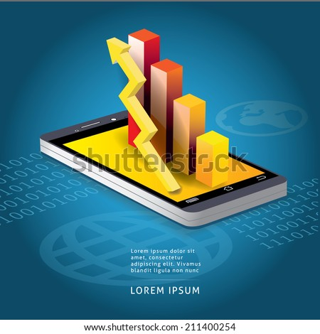 Smart phone and graph concept  vector illustration - stock vector