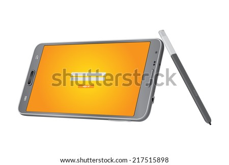 Smart phone and pen for touch screen on white background. Display sign in website
