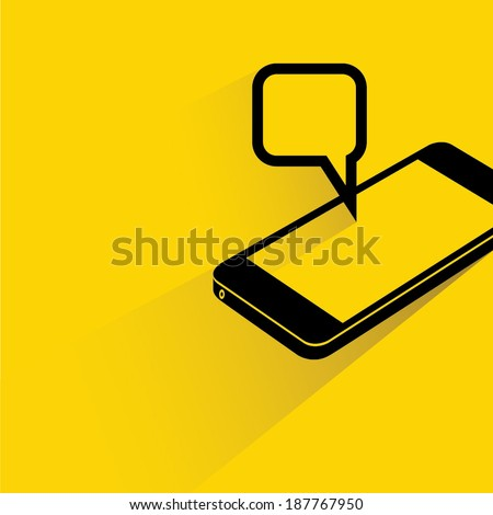 smart phone and pop up message on yellow background, shadow and flat style - stock vector