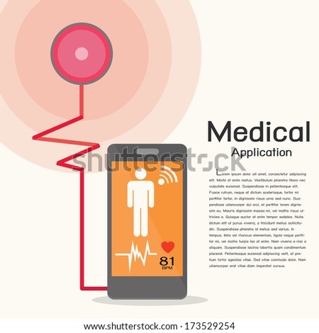 Smart phone and stethoscope, first aid isolated,Smartphone concept - stock vector