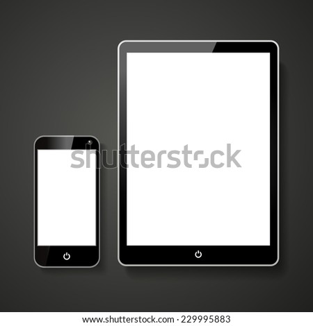 smart phone and tablet with blank screen over black background