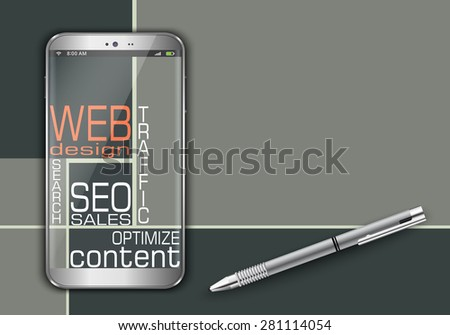 Smart phone and web word cloud concept design - stock vector
