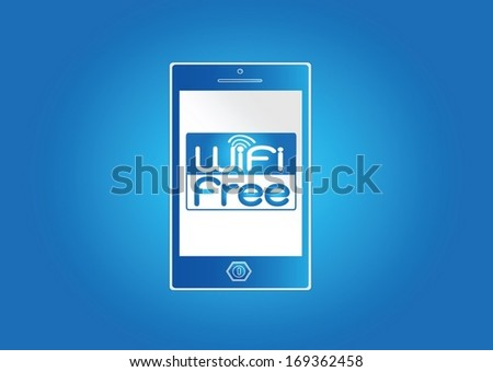 Smart Phone and Wifi Free Sign Internet Hotspot  - stock vector