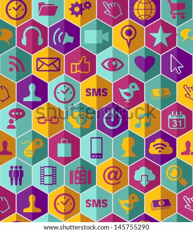 Smart phone app icon set seamless pattern background. Vector file layered for easy manipulation and customisation.  - stock vector