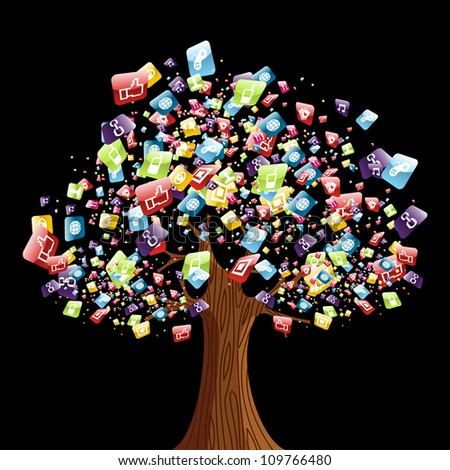Smart phone application icons tree. Vector illustration layered for easy manipulation and customisation. - stock vector