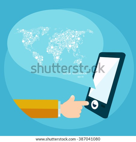 Smart phone apps and world communication concept. - stock vector