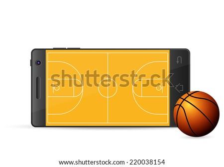 Smart phone basketball on a white background. Vector illustration. - stock vector