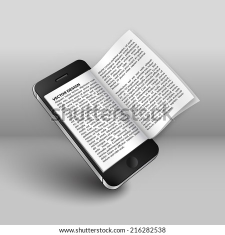 smart phone book design in vector format - stock vector