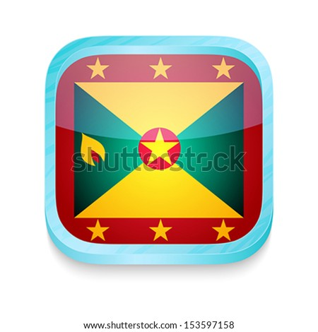 Smart phone button with Grenada flag - stock vector