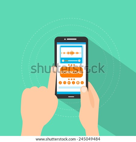 smart phone buy music download button touch finger on line store flat vector illustration  - stock vector