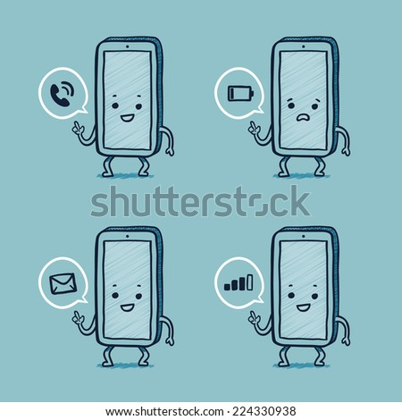 Smart phone character with common alerts, low battery, calling - stock vector