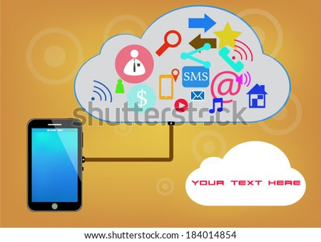 smart phone concept with social icons and cloud