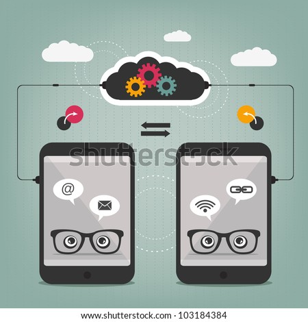smart phone connection - abstract concept - stock vector