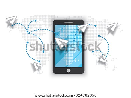 smart phone connection plane-paper sending map illustration vector background