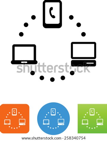Smart phone, CPU and laptop computer network symbol for download. Vector icons for video, mobile apps, Web sites and print projects.  - stock vector