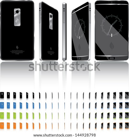 Smart Phone 3D Rotation - 21 Frames - Vector illustration of a touch-screen smart phone. 4 color choices, generic elegant, glossy design. - stock vector