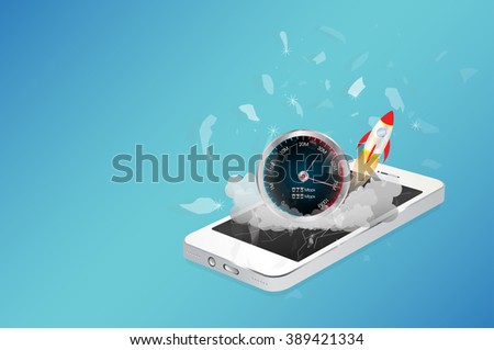 smart phone device with hi speed internet - stock vector
