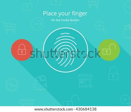 Smart phone fingerprint security access. - stock vector