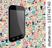 Smart phone generic on color icons background. Vector file layered for easy manipulation and customisation. - stock