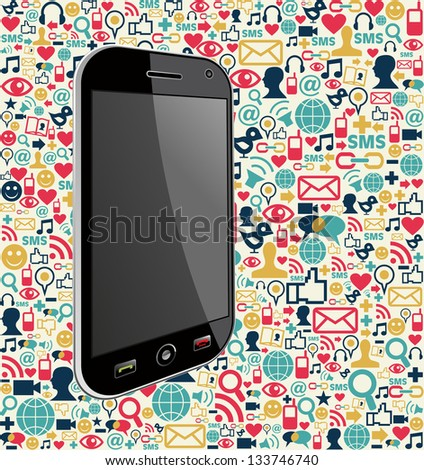 Smart phone generic on color icons background. Vector file layered for easy manipulation and customisation. - stock vector