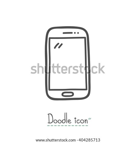 Smart Phone. Hand Drawn Doodle Icon.