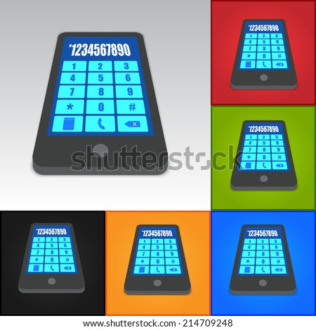 Smart phone Icon on Color Background. Smartphone Touch/Numeric Keypad, Vector Illustration.  - stock vector