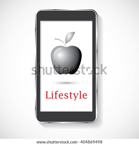 smart phone icon on grey background. stock vector illustration - stock vector