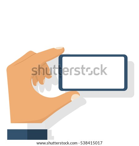 Smart phone in man hand. Horizontal position. Easy to edit, objects in layers. Vector illustration flat design. Isolated on white background. With blank white screen. Mobile smartphone digital device.