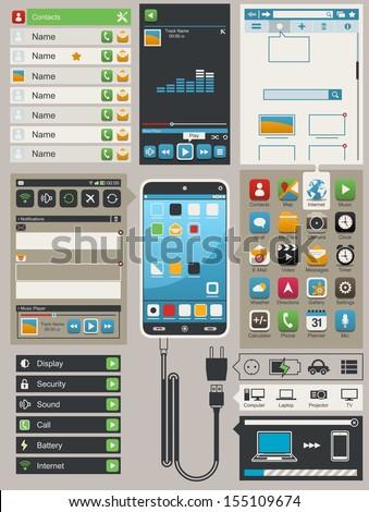 smart phone info graphic elements,vector - stock vector