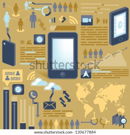 smart phone/infographic - stock vector