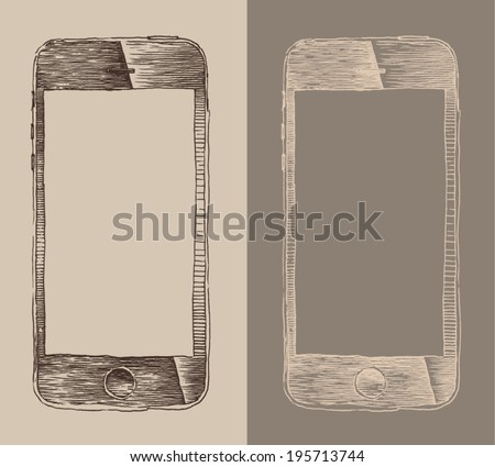 Smart Phone (iPhone), smartphone mobile tablet, engraved  style, hand drawn, sketch - stock vector