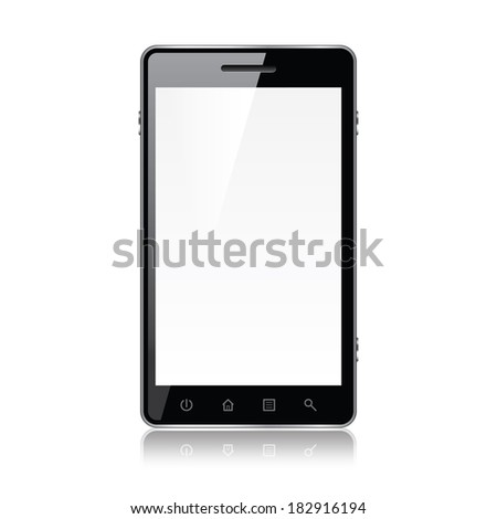 Smart phone isolated on white photo-realistic vector illustration - stock vector